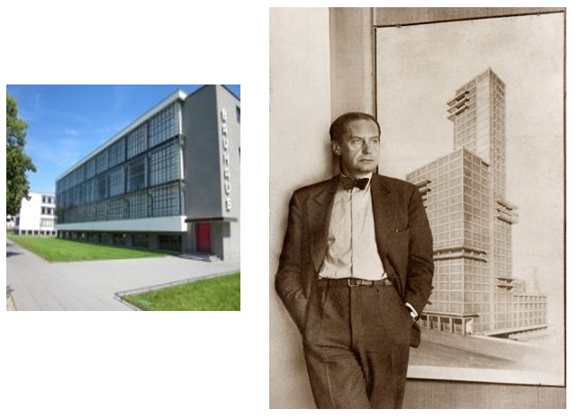 The Baushaus School in Wiemer, Germany.  Right: Founder, architect Walter   Gropius.